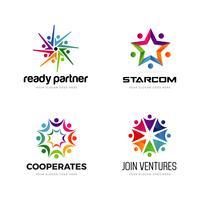 Insieme variopinto di progettazione di logo della Comunità vettore
