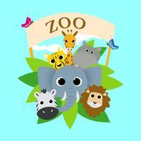 Illustrazione di vettore del gruppo animale sveglio dello zoo