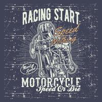 vettore d'annata del disegno della mano di grafica di tipografia di corsa del motociclo di stile di lerciume