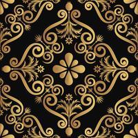 Disegno del modello di lusso ornamentale, colore dorato su sfondo nero vettore