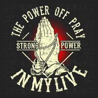 l'annata di stile del grunge spegne pregare, vettore dell'illustrazione della mano