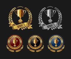 trofeo con etichetta distintivo corona di alloro. illustrazione vettoriale
