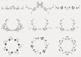 Pacchetto di vettore cornice fiore disegnato a mano