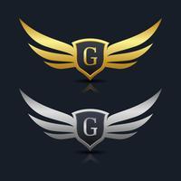 Wings Shield Lettera G Logo Template vettore