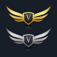 Logo dell'emblema della lettera V. vettore