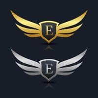 Wings Shield Lettera E Logo Template vettore