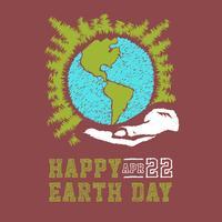 Schizzo di concetto di giornata della terra disegnato a mano di vettore. Mani umane che tengono globo con sfondo di stelle. Lettering Earth Day