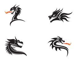 Illustrazione di vettore del modello di logo di colore piatto testa drago
