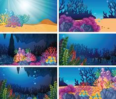 Set di scena subacquea vettore