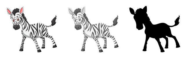 Set di caratteri zebra vettore
