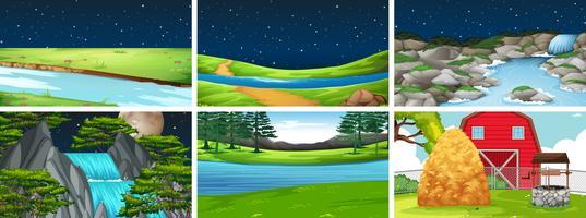 Imposta la scena del paesaggio naturale vettore