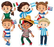 Molti bambini che tengono la bandiera di diversi paesi