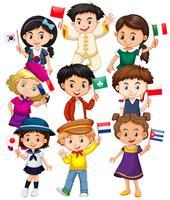 Molti bambini che tengono bandiera di diversi paesi vettore