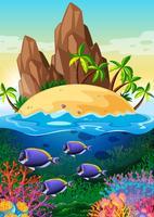 Scena con isola e vita sott'acqua vettore