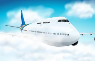Scena con l'aeroplano che vola nel cielo vettore