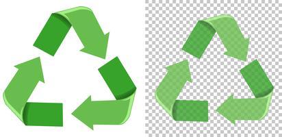 Set di icone verdi di riciclo vettore