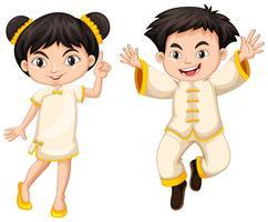 Ragazzo cinese e ragazza in costume tradizionale vettore