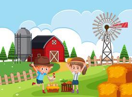 Bambini in fattoria rurale