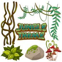 Set di elementi della giungla vettore