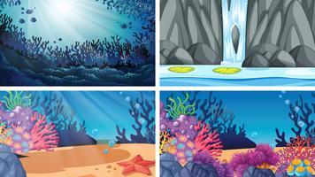 Set di scene d'acqua diverse vettore