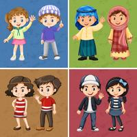Quattro sfondi di colore con bambini felici vettore