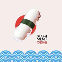 Sushi di polpo su sfondo stile giapponese vettore