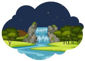 Un fiume nel paesaggio della natura di notte vettore