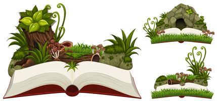 Tre libri di natura con grotta e piante vettore