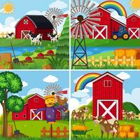 Quattro scene con mucche e fienili vettore