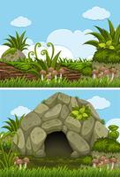 Due scene di sfondo con grotta e tronco vettore