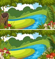 Due scene con fiume nella foresta vettore
