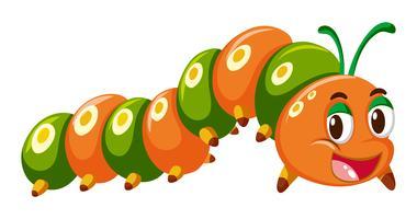 Caterpillar in arancione e verde vettore