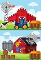 Due scene con trattore e spaventapasseri nelle fattorie vettore