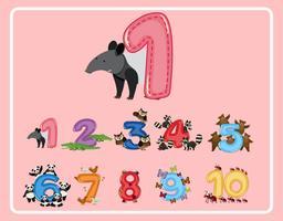 Numero uno e altri numeri con animali