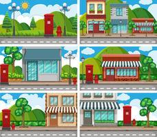 Sei scene di vicini con edifici lungo la strada
