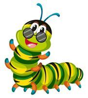 Caterpillar carino con gli occhiali vettore