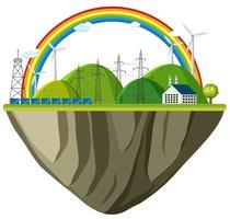 Fondo di tema di ambiente con pali della casa e dell'elettricità