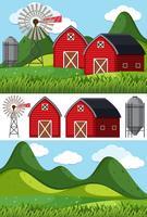 Scene di fattoria con granai rossi e mulino a vento