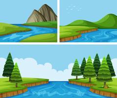 Scene del fiume con alberi di pino