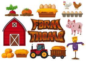 Insieme di elementi della fattoria vettore