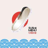 Menu di sushi sul poster con sfondo oceano