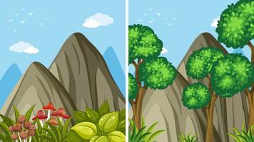 Due scene di montagna durante il giorno vettore