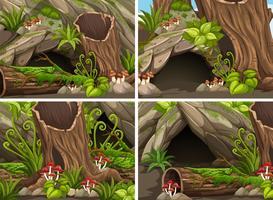 Quattro scene di foresta con boschi e caverne vettore