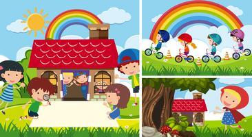 Tre scene con bambini che giocano in giardino vettore