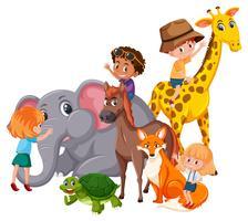 Bambini con animali selvatici vettore