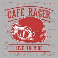 Casco da motociclista Racer Cafe con iscrizione Live to Ride-Ride to Live. Arte tipografica vintage per la stampa di t-shirt, vestiti, abbigliamento.