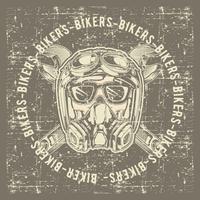 motociclisti del cranio del cranio dell'annata di stile del grunge che portano vettore del disegno della mano della chiave e del casco