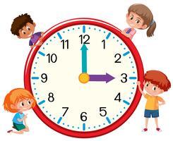 Bambini e orologio su bianco bankground vettore
