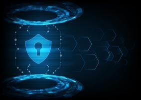 Concetto di sicurezza informatica Scudo con l'icona del buco della serratura sul fondo di dati digitali.