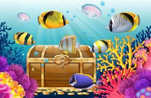 Pesci e meduse nel mare vettore